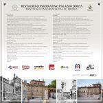 Nel restauro di Palazzo Dorta di Udine il cartello dei lavori è in friulano