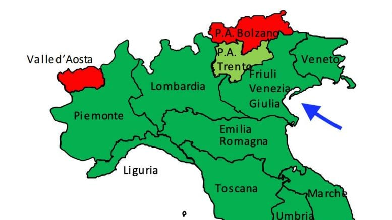 Cartina Veneto E Friuli.Il Fvg Nella Mappa Al Posto Del Veneto La Gaffe Del Ministero Della Salute