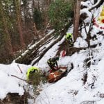 Cade in un dirupo per la neve a Zuglio, mucca salvata con l'elicottero