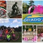 Dalla bici gigante al fiocco rosa di Grado fino al dipinto che ricorda Pantani, il Goriziano si veste per il Giro